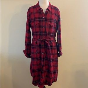 NWT Gap Red & Black Plaid Button Front Dress